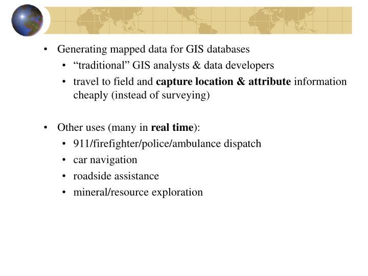 Generating mapped data for GIS databases