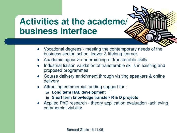 Activities at the academe business interface