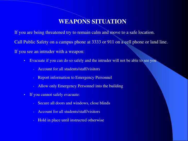WEAPONS SITUATION