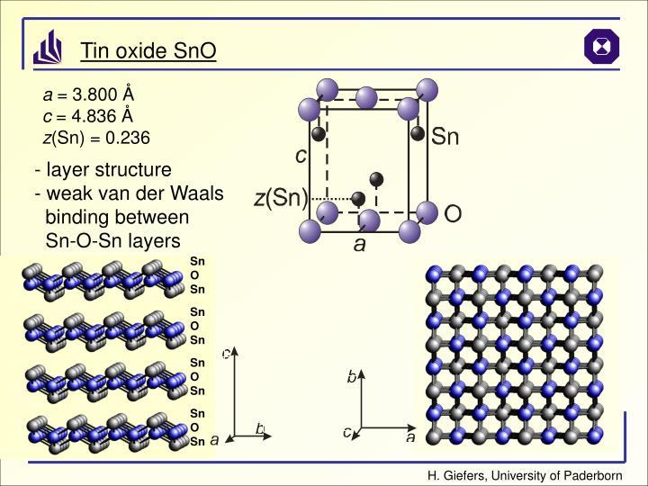 Tin oxide SnO