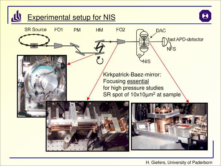 Experimental setup for NIS