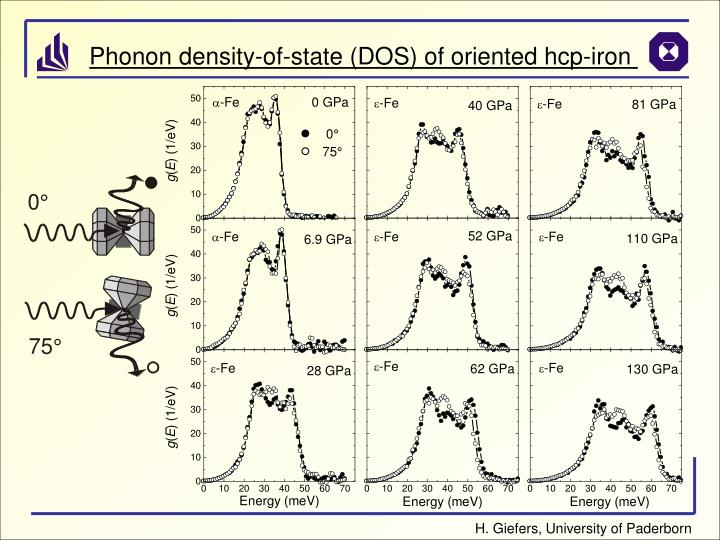 Phonon density-of-state (DOS) of oriented hcp-iron