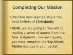 completing our mission
