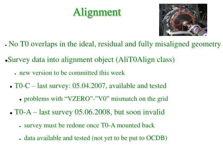 No T0 overlaps in the ideal, residual and fully misaligned geometry