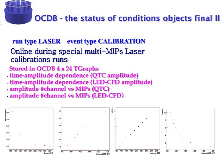 OCDB - the status of conditions objects final II