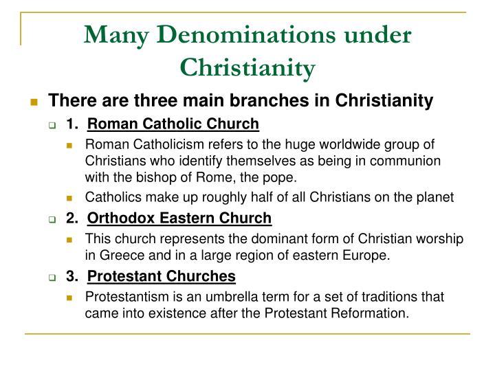 Many Denominations under Christianity