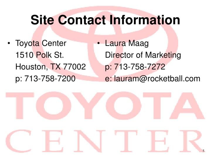 Site contact information