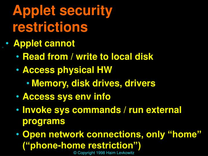 Applet security restrictions