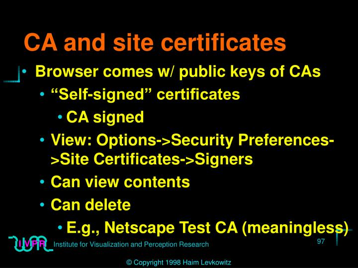 CA and site certificates