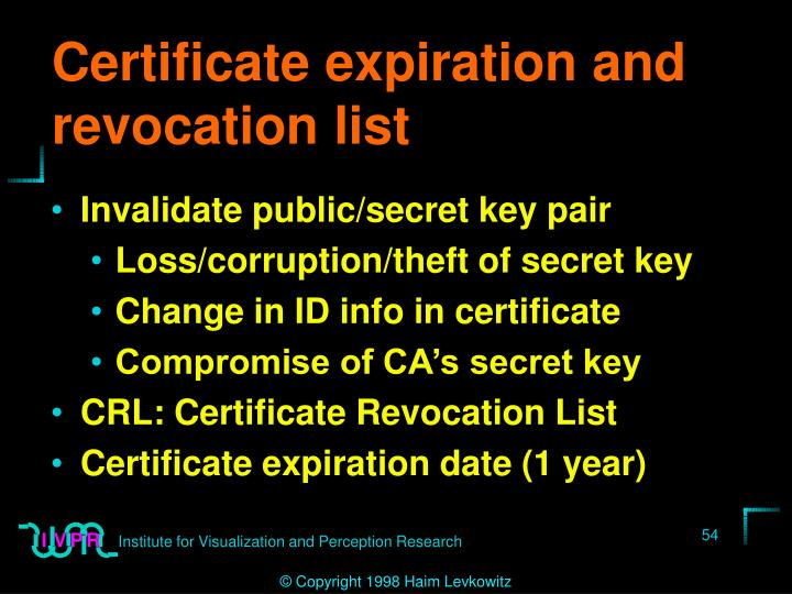 Certificate expiration and revocation list