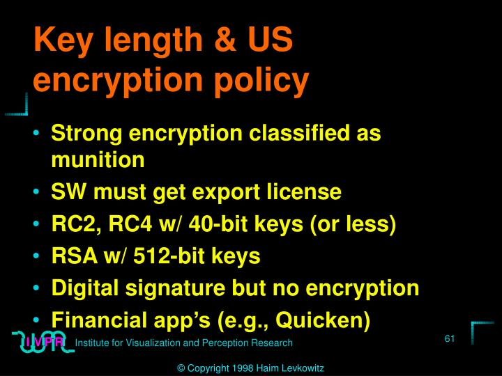 Key length & US encryption policy