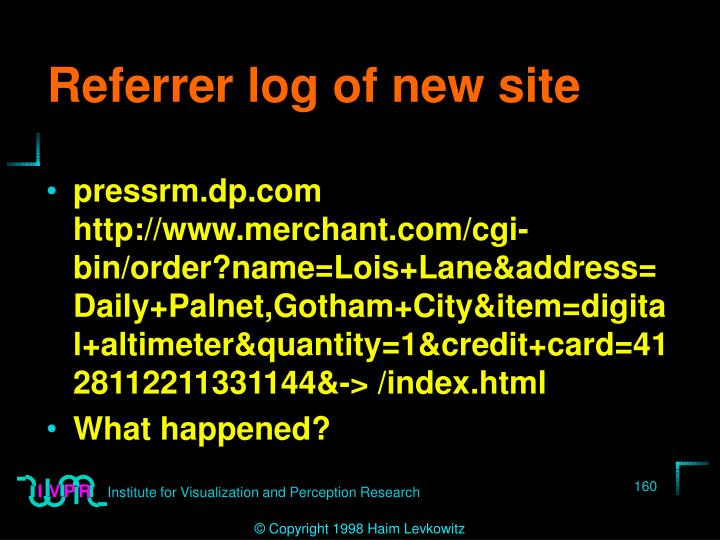 Referrer log of new site