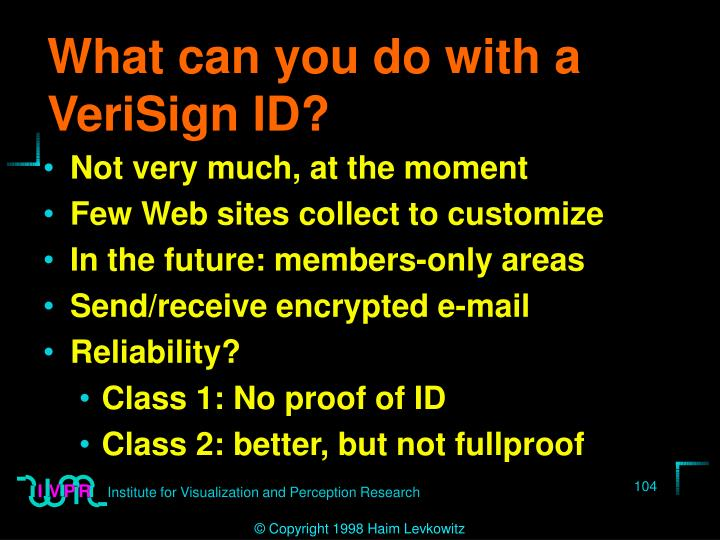 What can you do with a VeriSign ID?