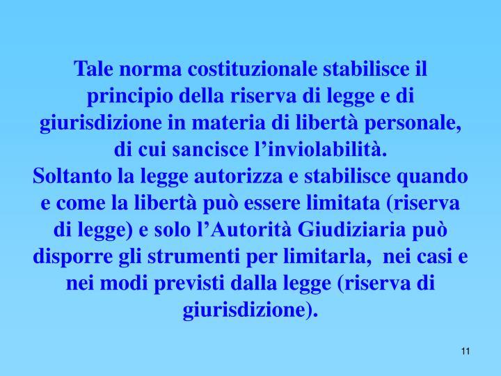Tale norma costituzionale stabilisce il principio della riserva di legge e di giurisdizione in materia di libertà personale, di cui sancisce l'inviolabilità.