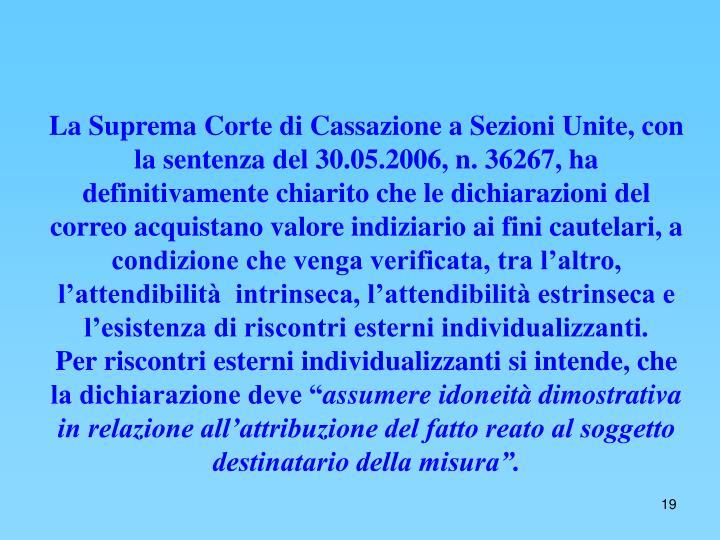 La Suprema Corte di Cassazione a Sezioni Unite, con la sentenza del 30.05.2006, n. 36267, ha definitivamente chiarito che le dichiarazioni del correo acquistano valore indiziario ai fini cautelari, a condizione che venga verificata, tra l'altro, l'attendibilità  intrinseca, l'attendibilità estrinseca e l'esistenza di riscontri esterni individualizzanti.