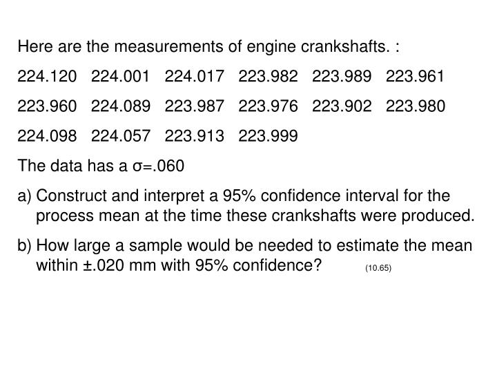 Here are the measurements of engine crankshafts. :