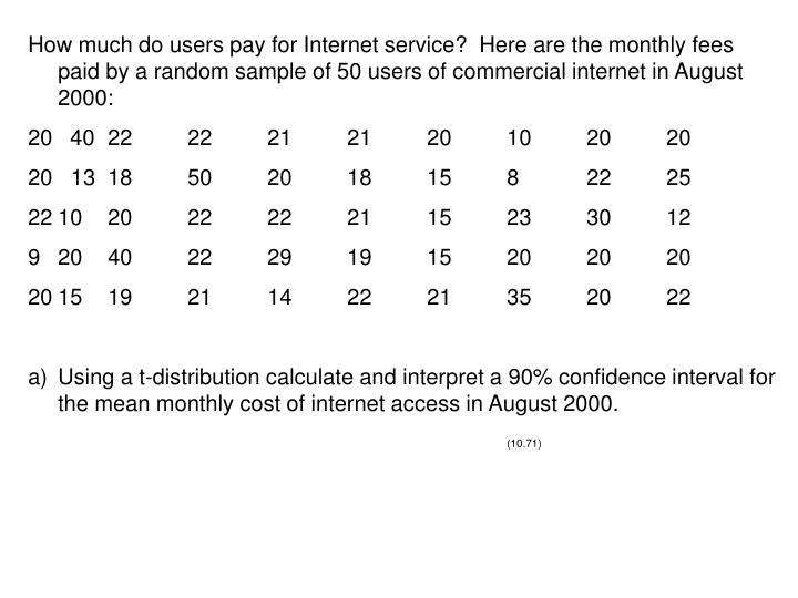 How much do users pay for Internet service?  Here are the monthly fees paid by a random sample of 50 users of commercial internet in August 2000: