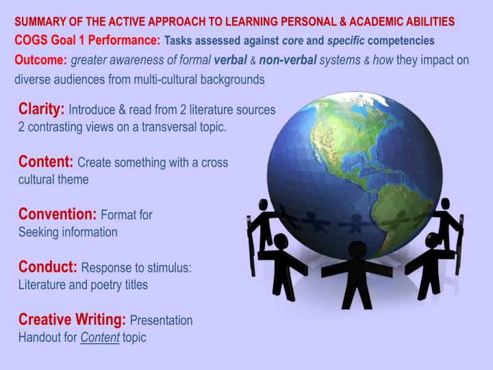 SUMMARY OF THE ACTIVE APPROACH TO LEARNING PERSONAL & ACADEMIC ABILITIES