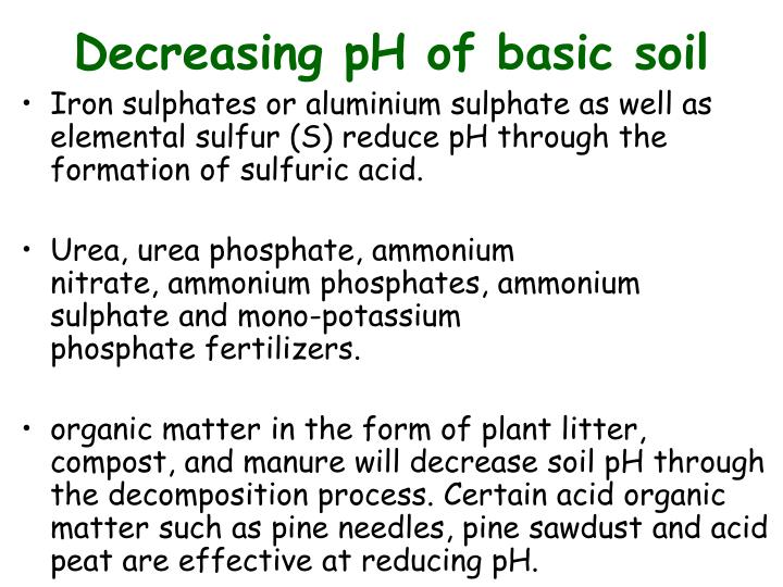 Decreasing pH of basic soil