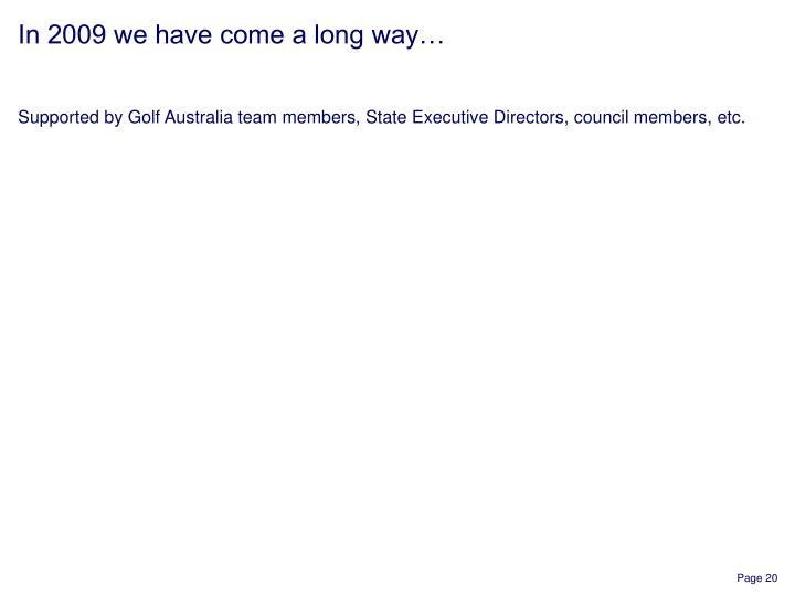 Supported by Golf Australia team members, State Executive Directors, council members, etc.