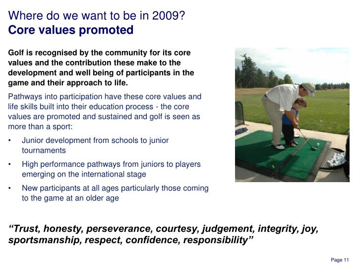 Golf is recognised by the community for its core values and the contribution these make to the development and well being of participants in the game and their approach to life.