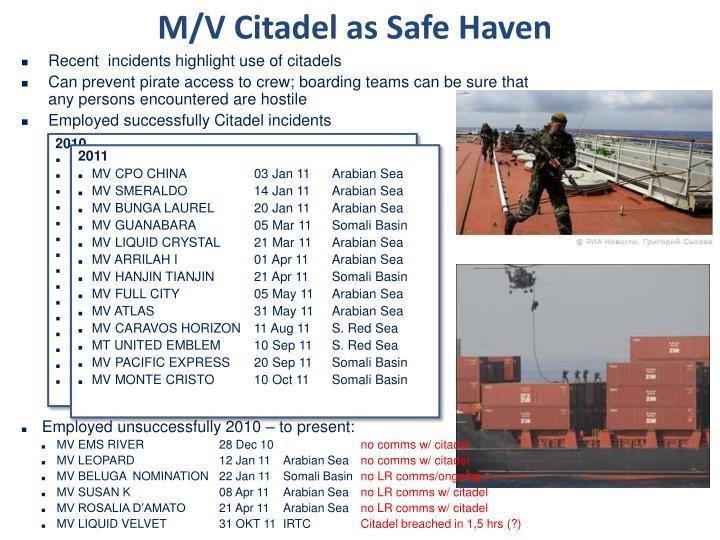 M/V Citadel as Safe Haven