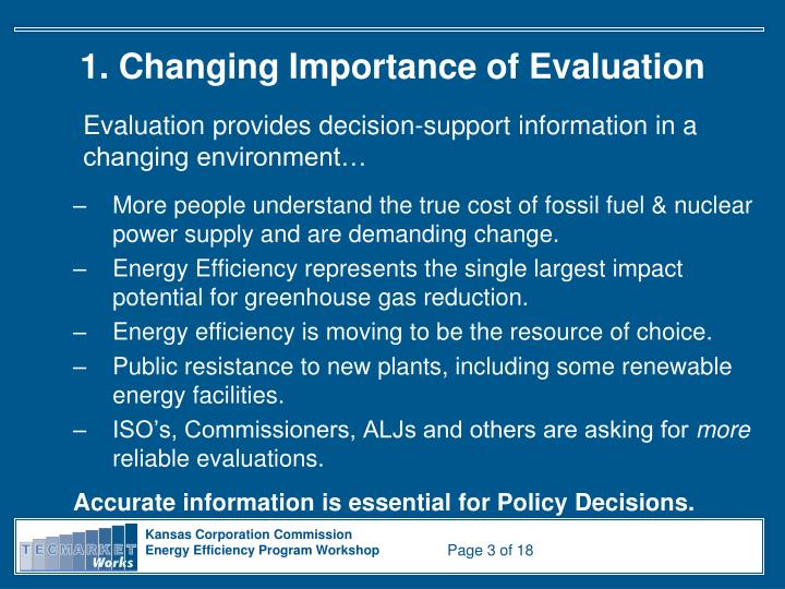 1 changing importance of evaluation