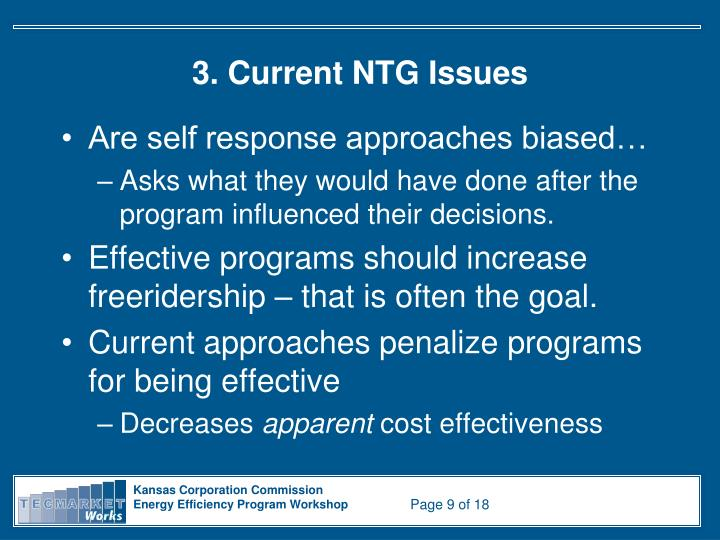 3. Current NTG Issues