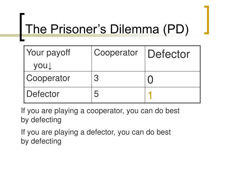 The Prisoner's Dilemma (PD)