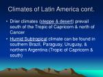 climates of latin america cont