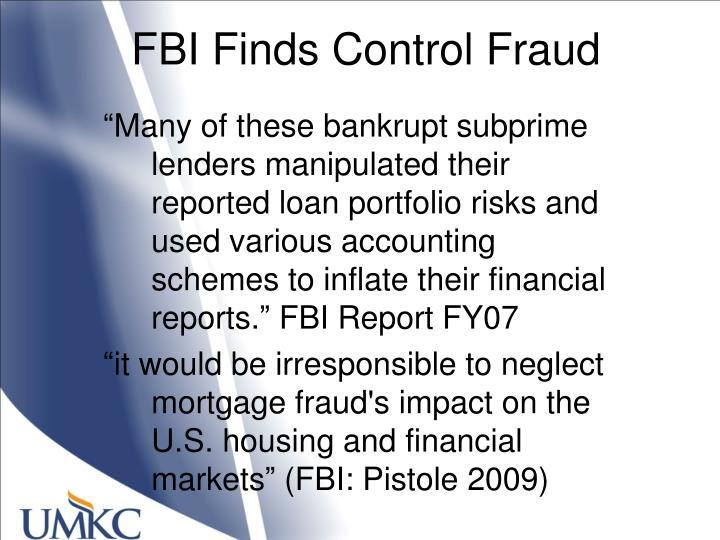 FBI Finds Control Fraud