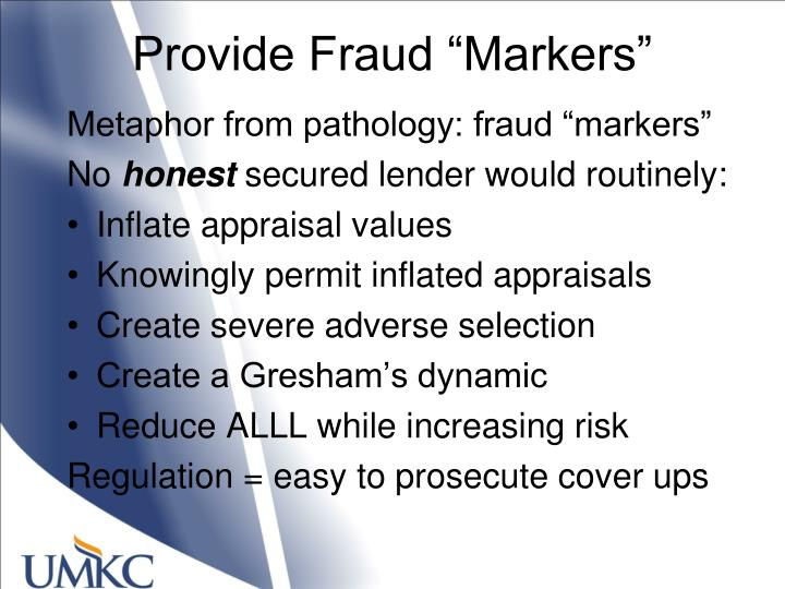 """Provide Fraud """"Markers"""""""