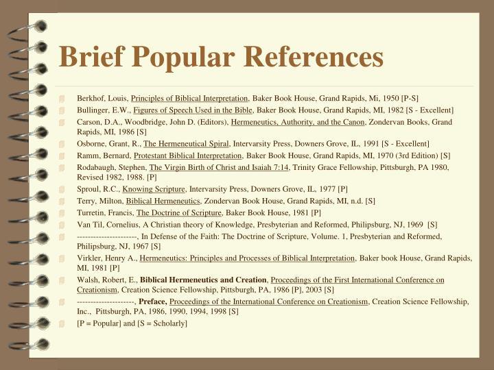 Brief Popular References