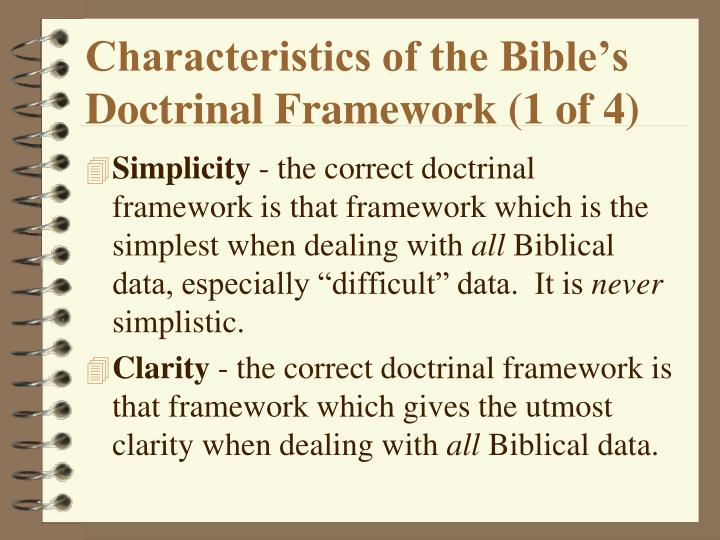 Characteristics of the Bible's Doctrinal Framework (1 of 4)