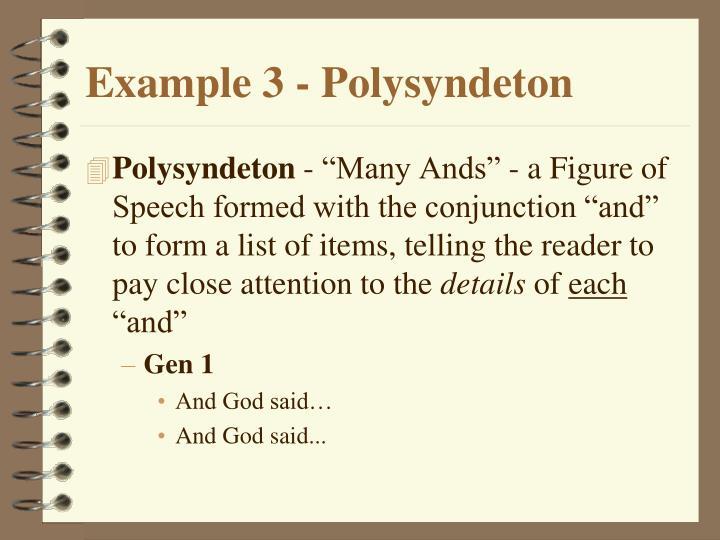 Example 3 - Polysyndeton