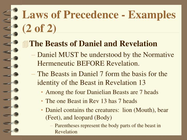 Laws of Precedence - Examples