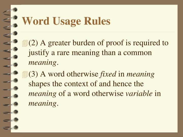 Word Usage Rules