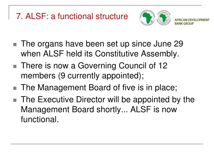 7. ALSF: a functional structure