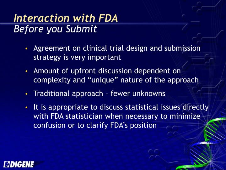 Interaction with FDA
