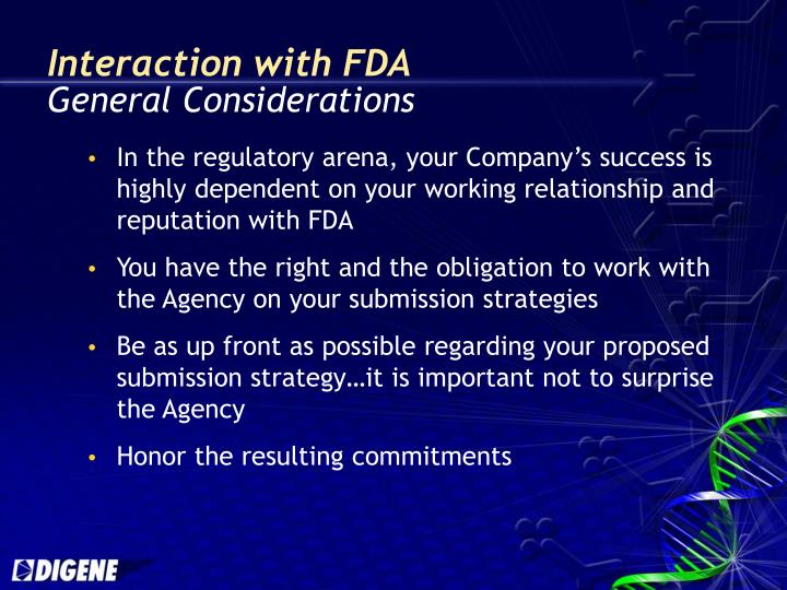 Interaction with fda general considerations