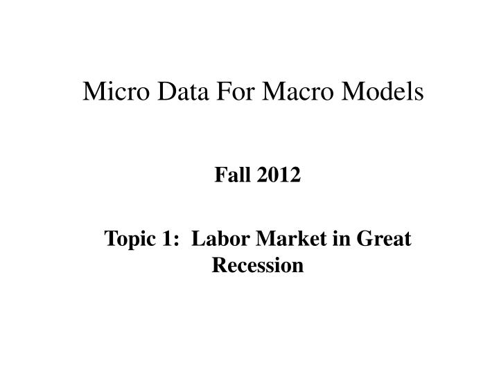 micro presentation topics Microeconomics is all about how individual actors make decisions learn how supply and demand determine prices, how companies think about competition, and more we hit the traditional topics from a college-level microeconomics course.