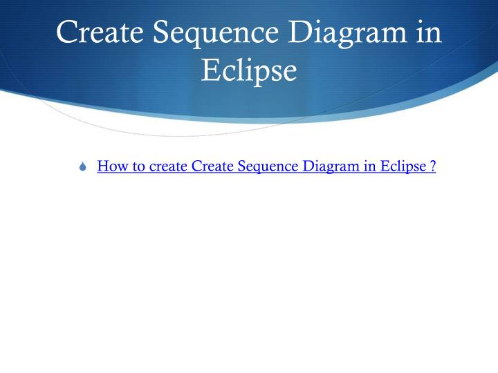 Create Sequence Diagram in Eclipse