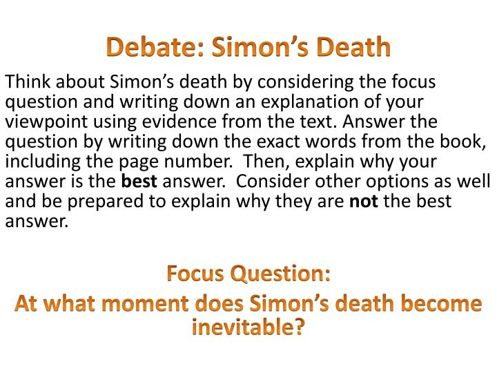 Debate simon s death