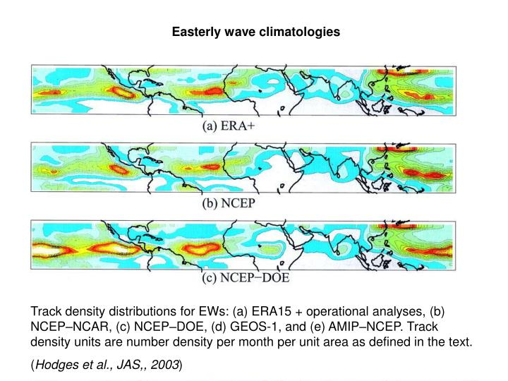 Easterly wave climatologies