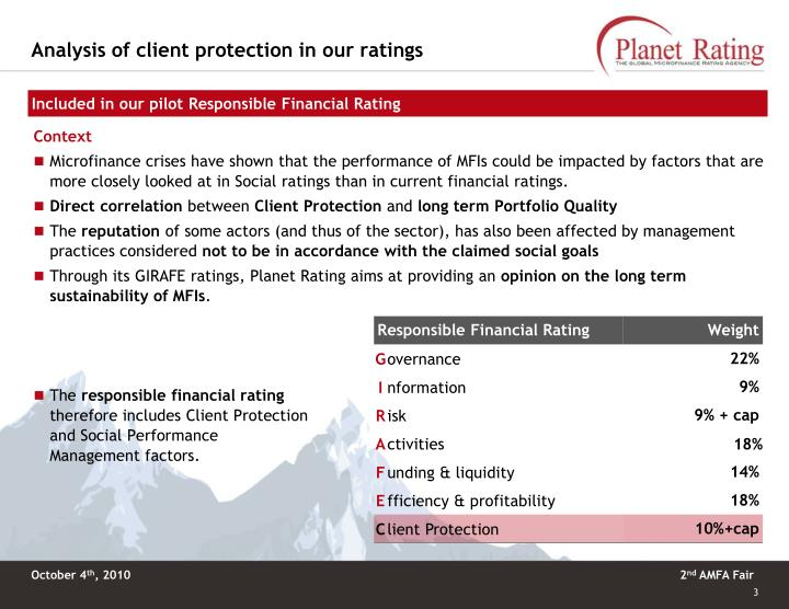 Analysis of client protection in our ratings