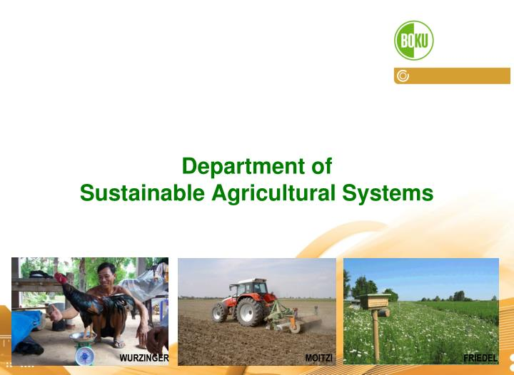 Department of sustainable agricultural systems
