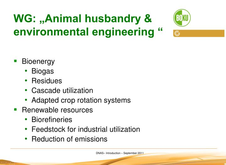 "WG: ""Animal husbandry & environmental engineering """