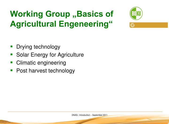 "Working Group ""Basics of Agricultural Engeneering"""