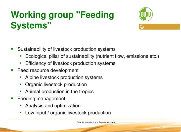"Working group ""Feeding Systems"""