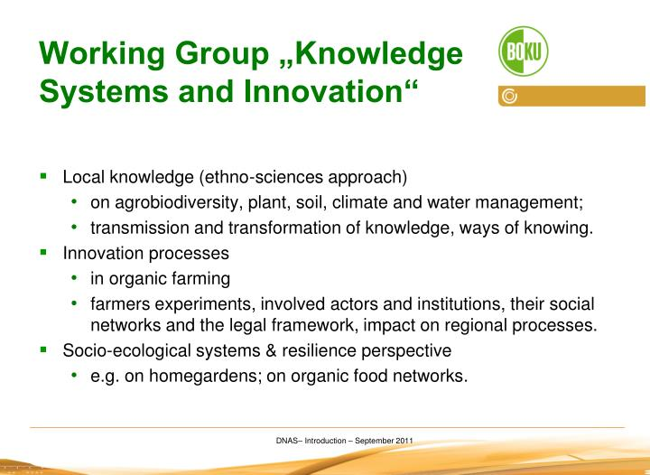 "Working Group ""Knowledge Systems and Innovation"""